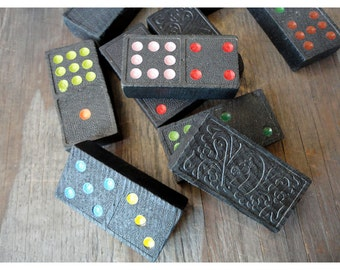 1950s Dominoes Game - Made in Japan - Brightly Colored Dots