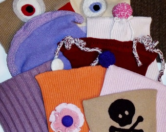 Cashmere SALE 10 Baby childrens hats OOAK 100% recycled cashmere child kids doll soft warm natural fiber cyclops eyes flower pompom