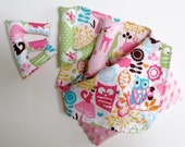 Personalized Lovey and Stuffed Name Gift Set in Forest of Friends - Lime or Watermelon Pink