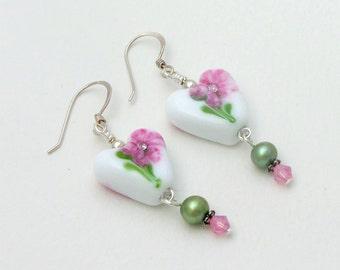 SWEET PEA - Artisan Lampwork Glass Earrings