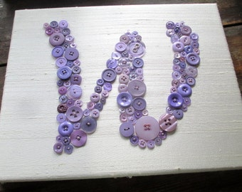 Nursery Wall Art, Button Letter W on Silk, Personalized Kids Wall Art, Button Art, Toddler Gift, Kids Gift, Wall Canvas or Ready-To-Frame