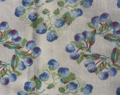 Vintage Feedsack Fabric or Flour Sack White w Blue Cherries and Blue Strawberries Fabric 1930s 40s