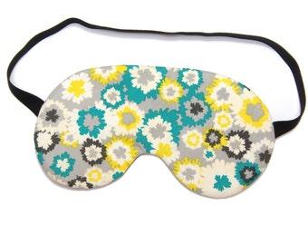 Teal and Yellow Flowers on Grey Sleep Eye Mask