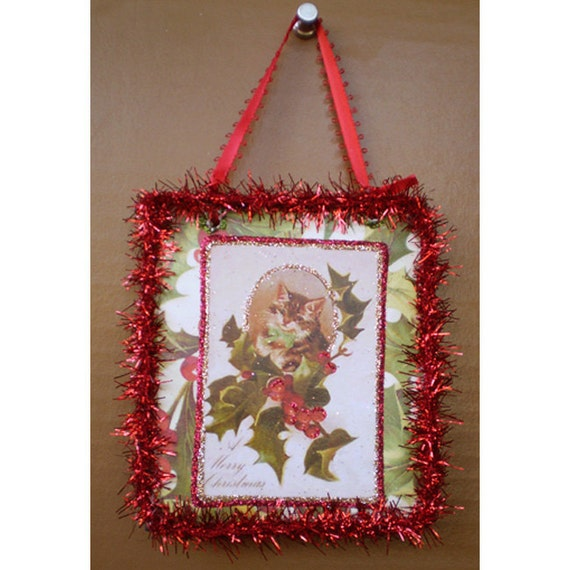 Christmas tree ornament kitty cat vintage style old fashioned decoupage Yule Winter