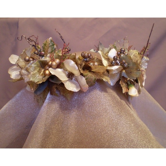 floral head wreath wedding ritual crown bridal flowers renaissance faerie costume Midwinter