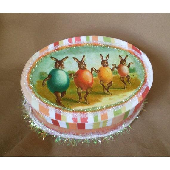 Easter decoration Spring home decor trinket treat gift box retro vintage style eggs rabbit Oschter Haws Ostara