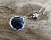 Starry Night Jewelry Necklace - Blue Goldstone - Silver Star - Personalized Initial Necklace - Constellation - Shooting Star - Gift for Her