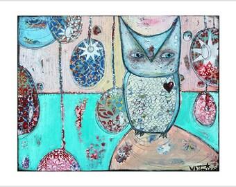 """Print- """"First Watch"""" - Mixed Media Art, Kids Room Decor, Owls, Pink, Magic, Children's, Girls"""