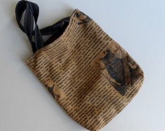 Ginger Brown Bird Bag - Hand Printed Organic  Linen - 2 Pockets