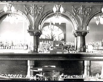 Vintage photo Montana Hotel Bar Saloon RPPC