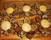 MADE TO ORDER Set Of 6 Primitive Homespun Fabric Flowers