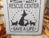 READY TO SHIP Black Cat Rescue Center Handpainted Primitive Wicca Wood SIgn Halloween Fall