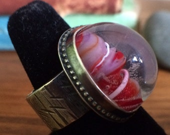 Sterling Silver Lampwork Cabochon Ring size 7.5