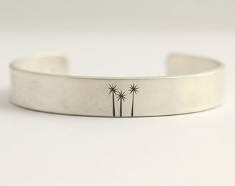 Cuff Bracelet with Cabbage Trees in Sterling Silver