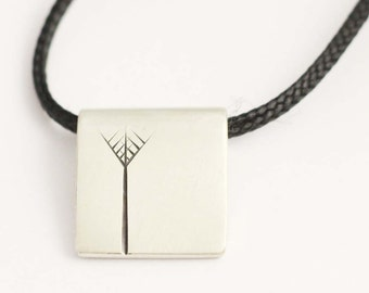 Single Nikau pendant in Recycled Sterling Silver