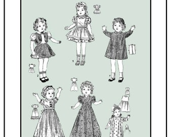 Vintage McCall 2616 - 14 inch Shirley Temple Doll Clothes sewing pattern - 1930's - PDF
