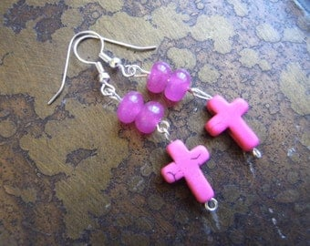 Girly Praise Howlite and Glass Beaded Dangle earrings