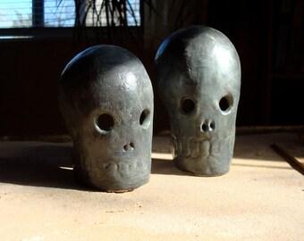 Ceramic Dia de Los Muertos Skull Altar Shrine Candle Holder Bisque Clay Halloween Decoration