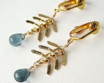 Fish Bone Chain Clip-on Earrings, Slate Gray Glass Teardrop, Chevron Chain Dangle Clip On Earrings, Gold Ear Clips, Handmade, Seattle Shores
