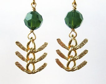 Gold Fish Bone Chain Clip On Earrings, Spruce Green Faceted Glass, Chevron Chain Dangle Clip Earrings, Light Forest Green, Evergreen Shores