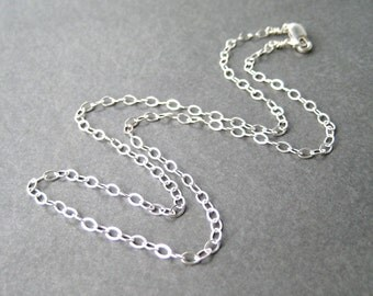 18 Inch Sterling Silver Chain Necklace, Modern Flat Cable Chain, .925 Sterling Silver Simple Necklace for Pendants, Lobster Claw Clasp