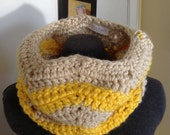 Unique, Chunky Chevron Infinity Cowl - Yellow and Tan