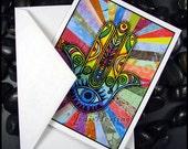 Beadworx - Blank - Single - Note Card with envelope- Fine Art Print -  Rays of Hamsa