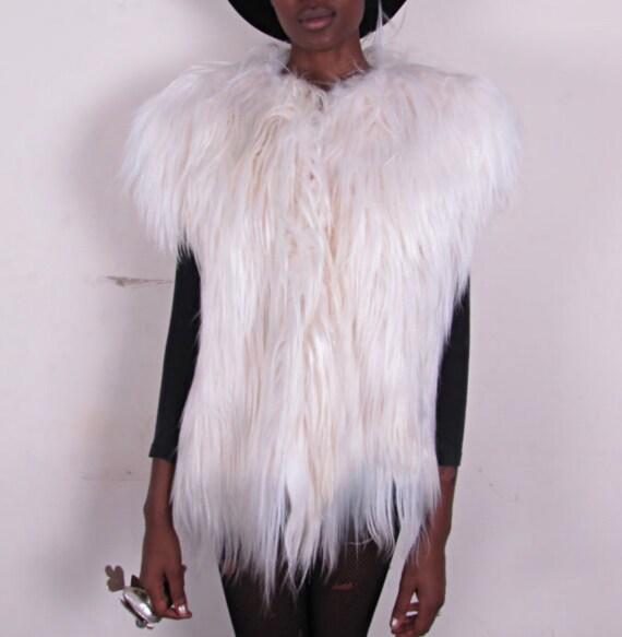 RESERVED for Janet Vintage Goat Long Fur Hair Feathered Shaggy Vest Coat Jacket