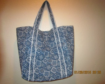 """Double Extra Large Durable 15.5"""" Grocery Shopper Reversible Market Tote Bag NAVY Bandana CLEARANCE 20% Off Was 19.50*"""