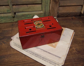 Free shipping Metal savings bank red with slots for coins Budget Bank Louis Marx & Co Vintage Toy Free Shipping