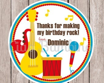 Music Birthday Party Favor Tags or Stickers / Personalized Tags in Blue, Red and Yellow / Set of 12
