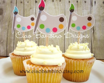 Art Party Cupcake Toppers / Die Cut Birthday Cupcake Toppers for Painting, Crafts, Pottery Party / Set of 12