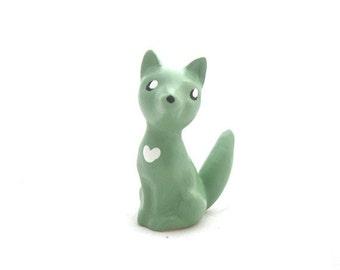 Handmade Chalkware Fox Dog Figurine - Pale Green