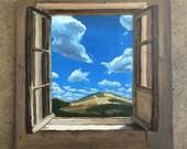 Original Oil Painting on Wood, Traveling Clouds, Window Series