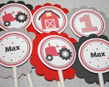 RED TRACTOR Cupcake Toppers / Tractor Toppers / Tractor Cupcake Picks / Tractor Birthday Party / Farm Cupcake Toppers / Any Age