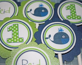 PREPPY WHALE Boy / Cupcake Toppers / Whale Toppers / Whale Cupcake Picks / Preppy Whale Birthday Party /  Any Age