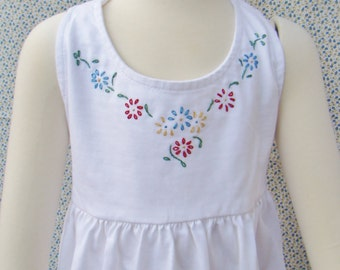 Girls Halter Dress - Hand Embroidered - 4T- Ready to Ship