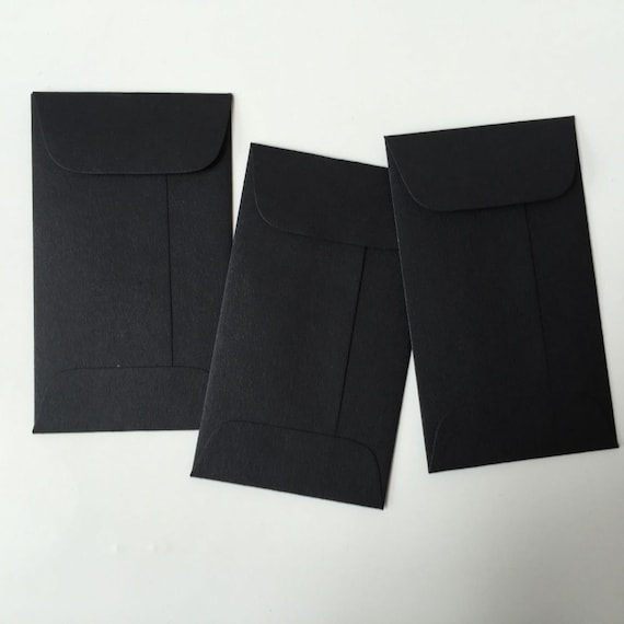 100 black mini envelopes with flap  coin envelope  gift