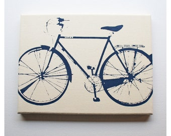 Bike Canvas Print (9x12'') Bicycle Screenprint Wall Art