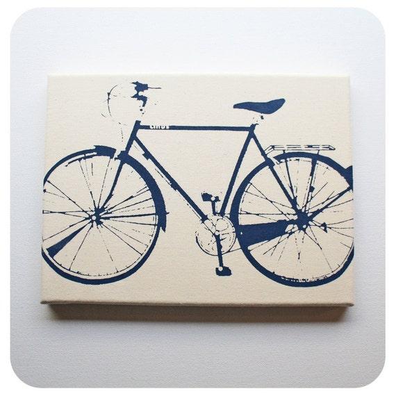 Bike Canvas Print (9x12'') Bicycle Screenprint Wall Art
