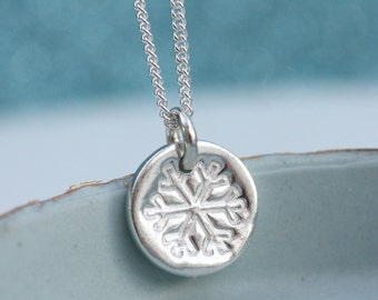 Little Silver Snowflake Necklace
