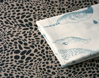 Pod - Narwhal Fabric -  Lichen Blue on White - Half Yard