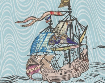 Sailing Ship XXIV - Block Print with Mixed Papers - Lino Block Print Historic Sailing Ship with Collaged Japanese Papers & Ephemera
