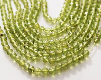 Half or Full Strand,  Peridot Faceted Round Beads, 4MM
