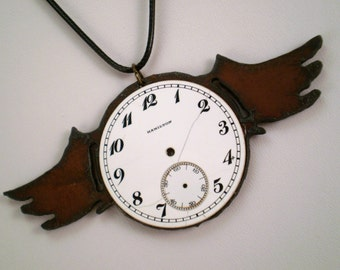 Winged Clock Necklace, Steampunk Clock Necklace