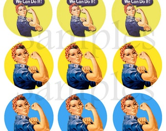 "1"" Inch Rosie the Riveter Pinback Buttons, Flatbacks or Magnets 12 Ct."