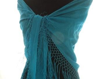 Silk Shawl, Triangle Shawl, Hand Dyed, Fringe