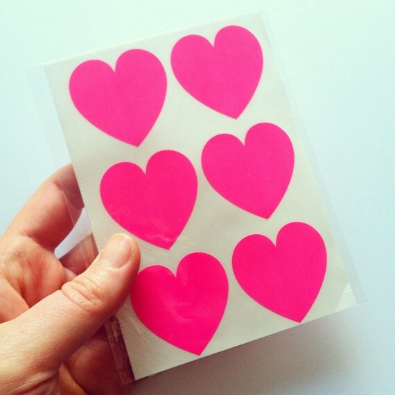 24 Large Neon Pink Stickers