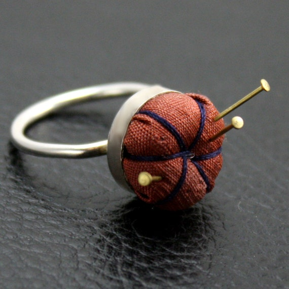 Pincushion Ring in Sterling Silver and Fabric