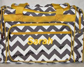 """Personalized 20"""" Duffle Gym Dance Gymnastics Overnight Bag Gray Grey and White Chevron with Yellow Trim - MONOGRAMMED FREE - By Girliebows"""